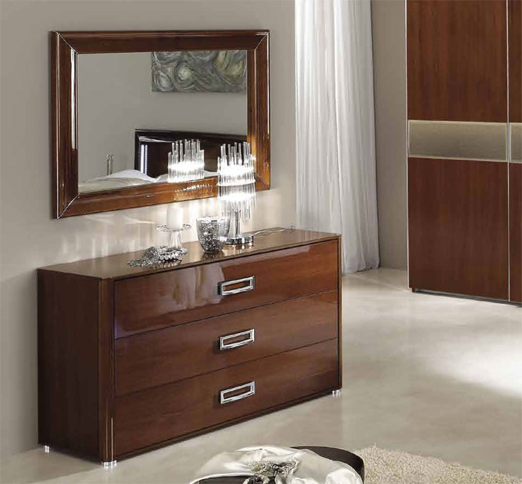kommode 3 schubladen m spiegel m bel italien nussbaum hochglanz nu baum furnier ebay. Black Bedroom Furniture Sets. Home Design Ideas
