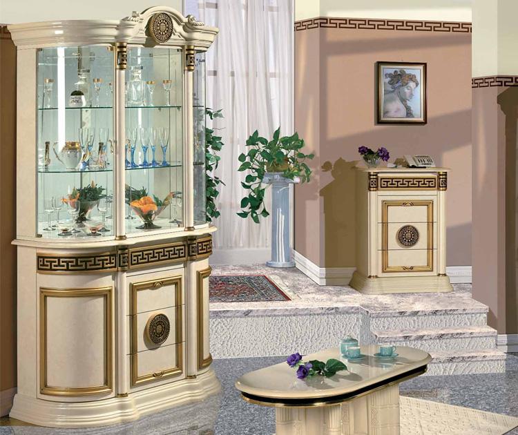 Exklusive vitrine 3tr elfenbein golddekor luxus designer stilm bel italien ebay - Stilmobel italien ...